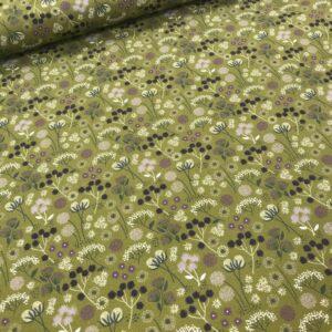 tissu coton imprimé BIO et OEKOTEX motifs fleurettes aubergines fond vert kaki