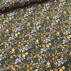 tissu coton imprimé BIO et OEKOTEX motifs fleurettes fond vert kaki et vert foncé
