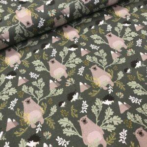 tissu coton imprimé BIO et OEKOTEX motifs hérissons et nounours fond vert kaki