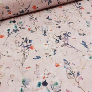tissu ameublement coton fond rose pâle motifs fleurettes