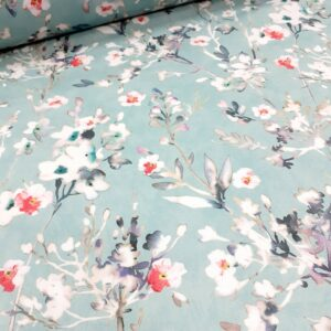 tissu ameublement coton fond turquoise motifs fleurettes