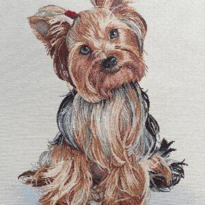 face de coussin en tapisserie motif chien yorkshire
