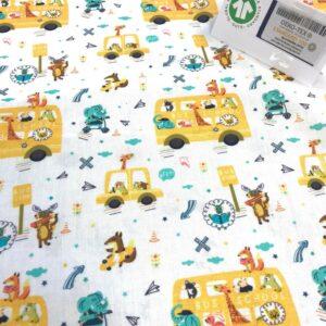 tissu coton imprimé BIO et OEKOTEX motifs enfantins school bus jaune