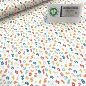 tissu coton imprimé BIO et OEKOTEX motifs enfantins chiffres