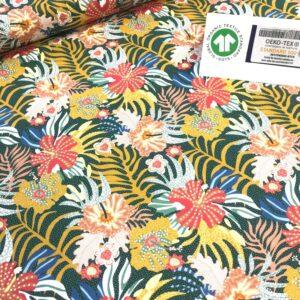 tissu coton imprimé BIO et OEKOTEX motifs fleur exotiques