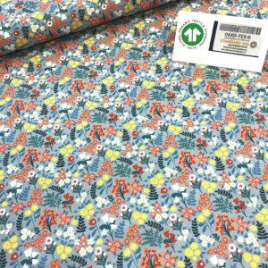 tissu coton imprimé BIO et OEKOTEX motifs fleurettes fond gris
