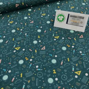 tissu coton imprimé BIO et OEKOTEX motifs géométrie enfantine fond bleu