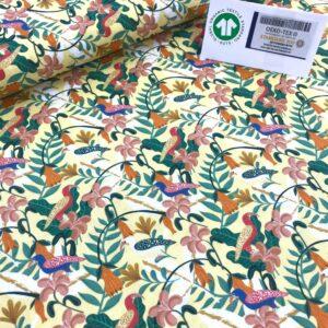 tissu coton imprimé BIO et OEKOTEX motifs oiseaux exotiques
