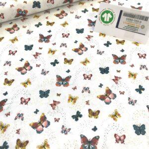 tissu coton imprimé BIO et OEKOTEX motifs papillons fond blanc