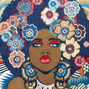 face de coussin en tapisserie motif femme fleurs