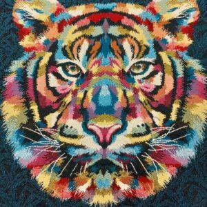 face de coussin en tapisserie motif tête de tigre