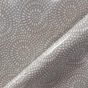 tissu spécial nappage coton enduit PVC motifs fleurs stylisées fond gris taupe Largeur 135cm
