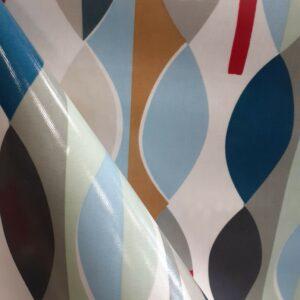 tissu spécial nappage coton enduit PVC motifs géométriques fond écru Largeur 135cm