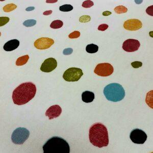 tissu spécial nappage coton enduit PVC motifs AMBER POIS fond ECRU Largeur 135cm