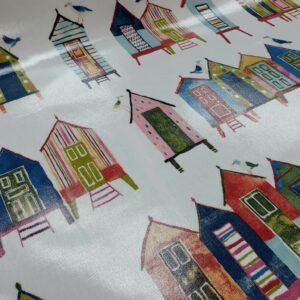 tissu spécial nappage coton enduit motifs cabanes de plage