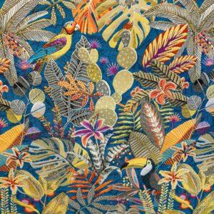 tissu ameublement REF SUMATRA motif oiseaux exotiques