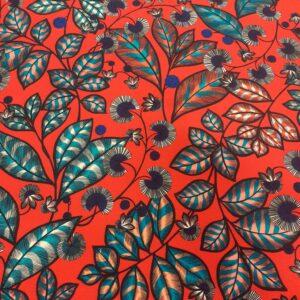 tissu ameublement coton Rainbow Tree coloris Rouge corail