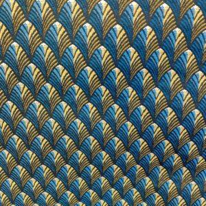 tissu ameublement REF GATSBY motif Plumes canard / moutarde Spécial Sièges
