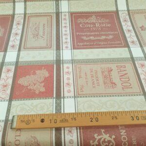 tissu coton enduit grande largeur Etiquettes de vin col bordeaux