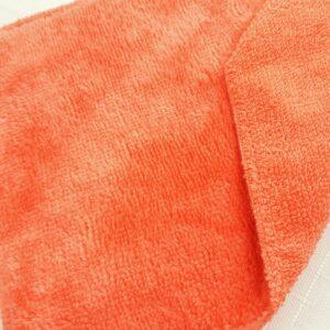 tissus éponge microfibre bambou coloris corail orangé en largeur 150cm pour serviettes et lingettes lavables