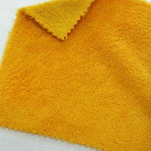 tissus éponge microfibre bambou coloris jaune moutarde en largeur 150cm pour serviettes et lingettes lavables