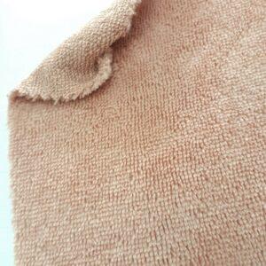 tissus éponge microfibre bambou coloris beige rosé blush en largeur 150cm pour serviettes et lingettes lavables