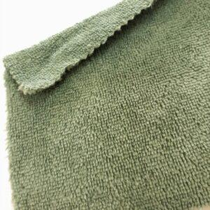 tissus éponge microfibre bambou coloris vert sauge en largeur 150cm pour serviettes et lingettes lavables