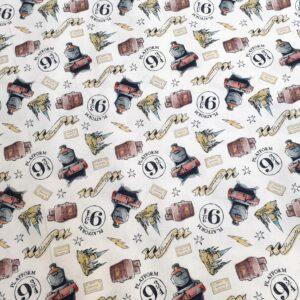 tissu coton imprimé BIO et OEKOTEX motifs HARRY POTTER