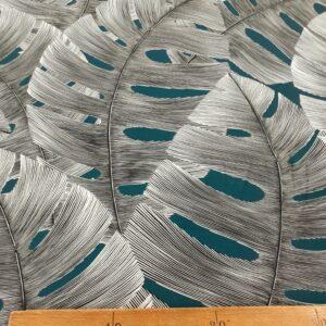 tissu ameublement coton ARCADIE feuillage noir fond Bleu canard