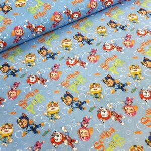 tissu coton imprimé BIO et OEKOTEX motifs Pat Patrouille