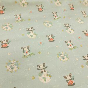 tissu coton imprimé BIO et OEKOTEX motifs pandas