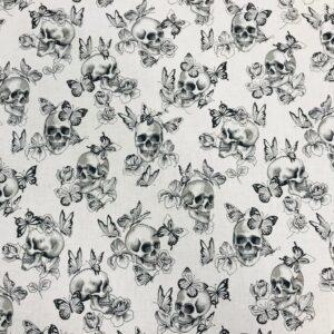 tissu coton imprimé OEKOTEX motifs Vanity têtes de mort noir et blanc