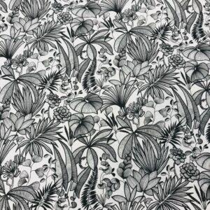 tissu coton imprimé OEKOTEX JAVA feuillages col noir et blanc