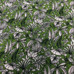tissu coton imprimé OEKOTEX JAVA feuillages col vert cactus