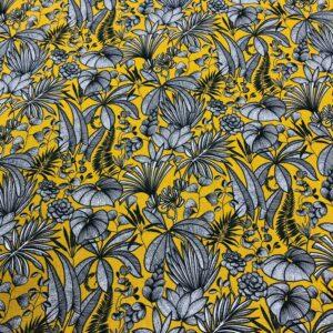 tissu coton imprimé OEKOTEX JAVA feuillages col jaune curry