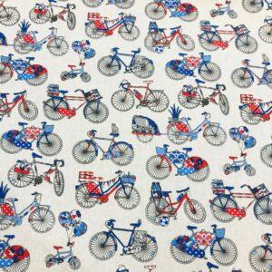 tissu coton imprimé OEKOTEX VELOS Bleu blanc rouge