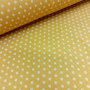 tissu double gaze oekotex fleurettes moutarde
