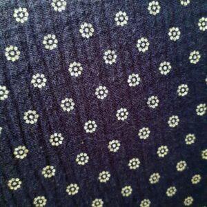 tissu double gaze oekotex fleurettes grises