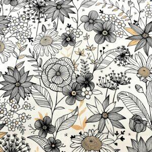 tissu coton imprimé motifs daisy col noir blanc et doré
