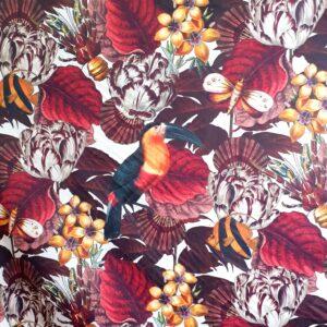 tissu velours imprimé exotique Histoires Naturelles col prune